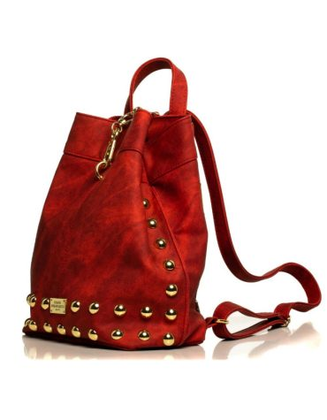 ELENA ATHANASIOU Backpack Jean Pattern Red Gold 1