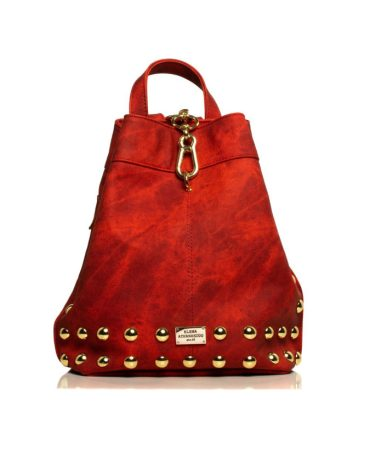 ELENA ATHANASIOU Backpack Jean Pattern Red Gold 2