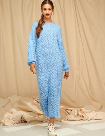 Karavan Brittany Knitted Dress W Scalloped Edges Baby Blue
