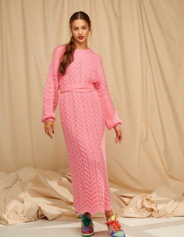 Karavan Brittany Knitted Dress W Scalloped Edges Pink 4