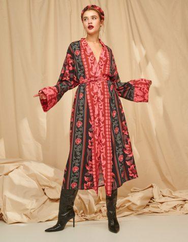 Karavan Fareeda Maxi Kimono Stripe Flowers Black 7
