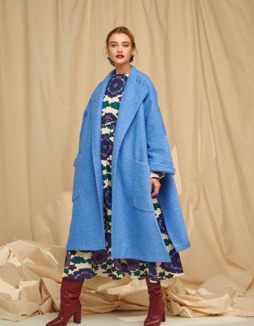 Karavan Guthman Boucle Coat With Side Slits Baby Blue 6