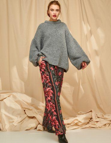 Karavan Imani Elasticated Waist Pants Stripe Flowers Black