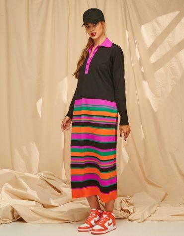 Karavan Mayra Dropped Waist Dress Black Orange Magenta Green 4