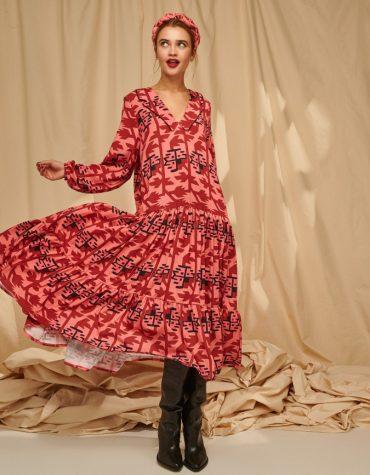 Karavan SERENA Dropped Waist V Mixi Dress Pixel Flowers Salmon Burgundy