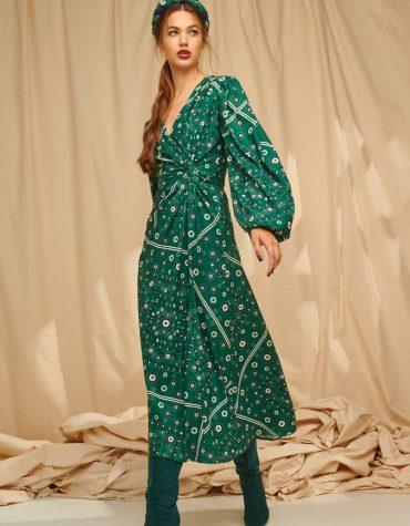 Karavan Samira Mixi V Dress W Front Knot Bandana Green 6