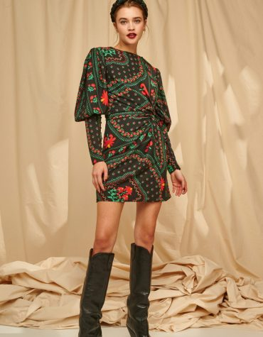 Karavan Yara Mini Dress W Fron Knot Embroidery Like Pattern Black 4