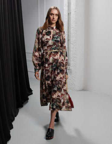 MILKWHITE Open Back Printed Midi Dress