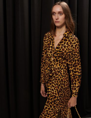 MILKWHITE Printed Wrap Dress Leopard 2