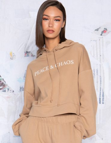 Peace and Chaos Latte hoody